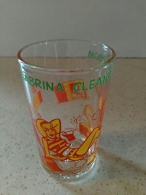"""Archie's Comics Glass Jelly Jar """"sabrina Cleans Her Room""""  1971 Hot Dog Embossed"""