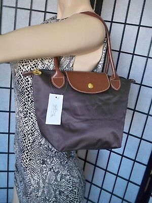 19bfbd6a78de LONGCHAMP Le Pliage SMALL Brown Choco Nylon With Leather Trim Tote Shoulder