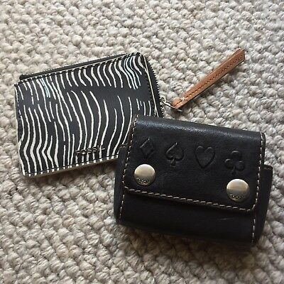 Fossil 100% Leather Black Playing Card Holder Snap Closure Card Games