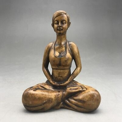 Chinese antique--- hand-carved boxwood statue -- Yoga Beautiful woman   ag215