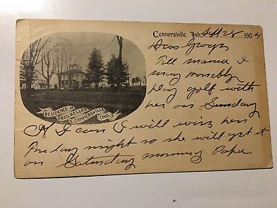 1904 EAST CONNERSVILLE INDIANA FRED KELLER RESIDENCE EARLY black and white card