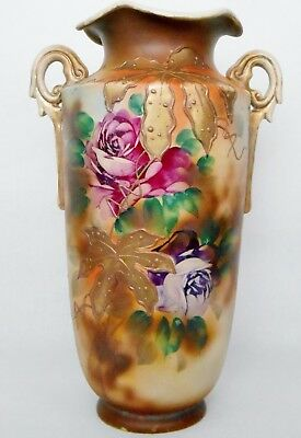 Moriage Antique Japanese Nippon Hand Painted Vase or Urn with Handles on Sides,
