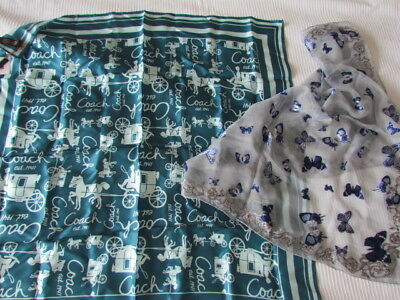 New Coach Silk Scarf Lot Twill Horse Victorian Carriage Logo