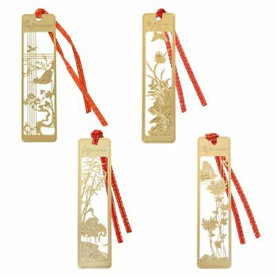 Chinese Retro Style Hollow Metal Bookmark Note Memo Clip School Stationery Paper
