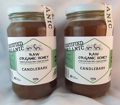 Raw Organic Honey, Candlebark, Twin Pack, 2 * 500gms jars free shipping