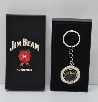 Jim Beam Authentic Bourbon Brand New Metal Double Sided Swivel Key Ring KeyChain
