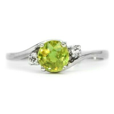 5mm Natural Yellowish Green Sphene Ring With Topaz in 925 Sterling Silver