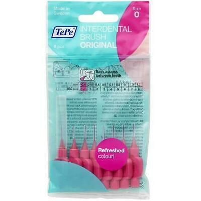 TePe Interdental Brushes 0.4mm Pink - 2 Packets of 8 (16 Brushes)
