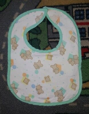 BABY BOYS Sz ONE SIZE white & blue bib VELCRO TAB! BEARS!