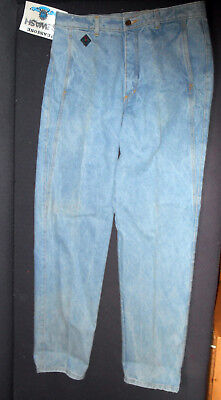 NWT Vintage 1980s Australian Made Icewash High Waisted Blue Denim Jeans W36 92cm
