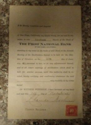Antique First National Bank of San Diego Voting Certificate of Walter Kohl