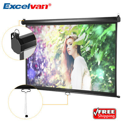 """100"""" 16:9 Projector Projection Screen Manual Pull Down 3D 4K Home Theater Movie"""