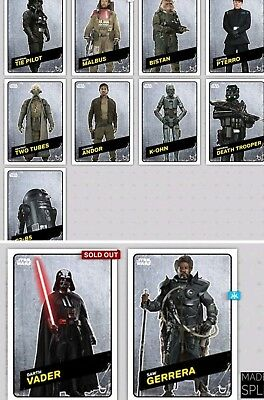 Topps Star Wars Trader Rogue One Challengers 9 Steel Set Wave 2 Saw Vader K-2SO