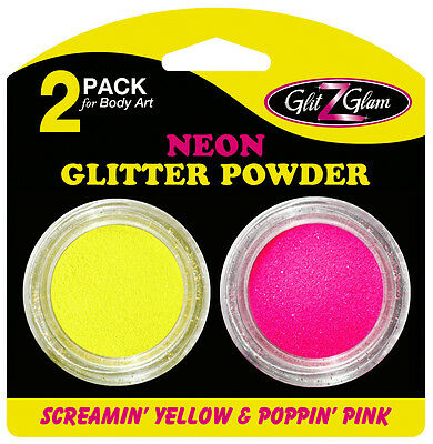 Glitter for Glitter Tattoos - 2-Pack Neon Poppin' Pink and Screamin' Yellow