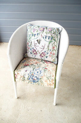 Vintage/Retro Lloyd Loom Style Wicker Tub Chair with Padded Seat C1950's