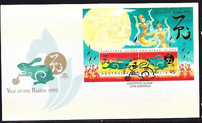 Christmas Island 1999 Year of Rabbit  MS First Day Cover  APM31700
