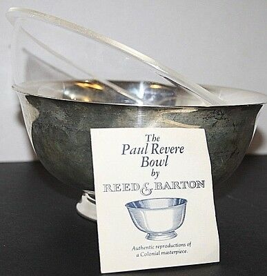 """Paul Revere Bowl by Reed & Barton Liberty Bowl Silver Plated with Liner 8"""" Round"""
