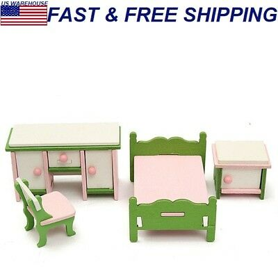 Wooden Furniture Set Doll House Miniature Room Accessories Kids Pretend Play Toy