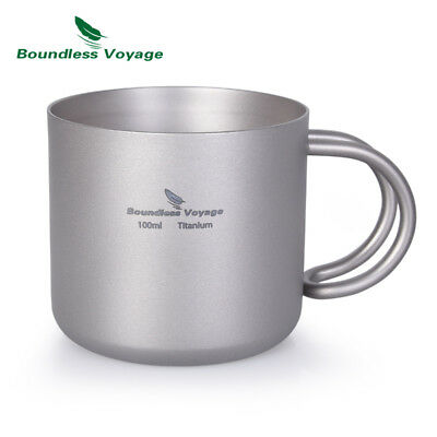 Boundless Voyage Titanium Coffee Cup Double-Wall with Handle Camping Mug 100ml
