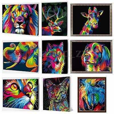 AU Paint By Number Kit Painting By MultiColored Puppy Lion Animals Wooden Framed