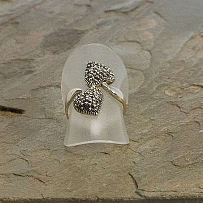 Two Hearts Sterling Silver Marcasite Ring