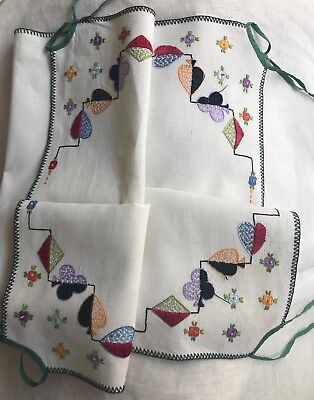 Vintage Hand-Embroidered Linen Tablecloth For Card Table