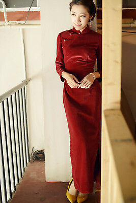 1e906925e Autumn Chinese Classic Qipao Vintage Cheongsam Cotton Flocking Dress Wine  Red