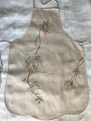 Vintage Linen Needlework Apron, Hand-Embroidered Leaves & Berries