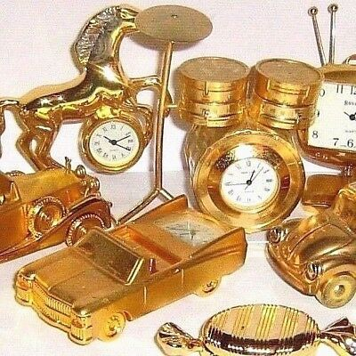 MINIATURE NOVELTY CLOCKS  GILDED  BRASS  EFFECT  click SELECT to browse / order