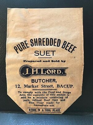 J H Lord, Butcher - Bacup - Original Suet Paper Bag - ref188