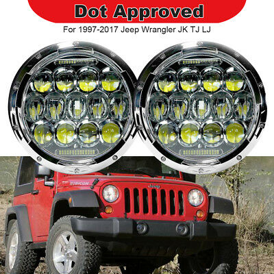 "2pc 7"" inch TURBOSII LED Headlights Hi/Low DRL Fits Jeep Wrangler JK JKU TJ LJ"