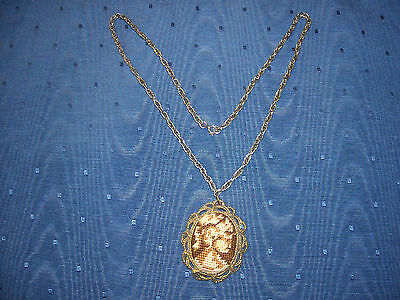 Very Old Needlepoint Pendant Necklace with Mirror on Reverse Side Unusual