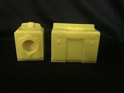 Marx Vintage Plastic Doll House Furniture Yellow Laundry Room Set Two Pieces
