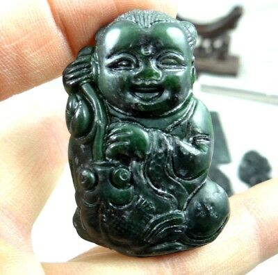 Natural100% China black green jade hand-carved of 童子 Pendant necklace F99