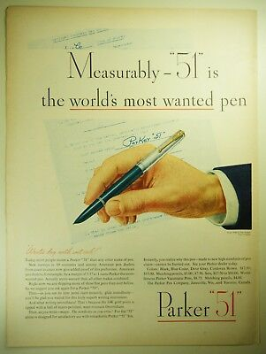 """Vintage 1946 PARKER """"51"""" Fountain Pen Full-Pg Magazine Print Ad: MOST WANTED PEN"""