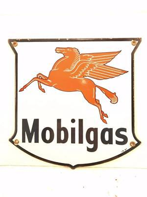 Vintage 1947 Porcelain Mobilgas Pegasus Porcelain Gas Station Pump Sign Plate