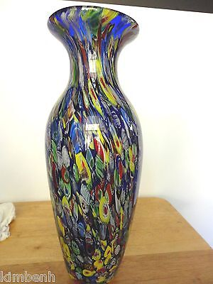 Heavy Millefiori Blue Transparent Hand-Blown Art Glass Vase - YT-225