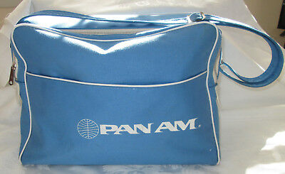 Vintage Sky Blue 1970s PAN AM AIRLINES Travel Carry-On Flight Bag