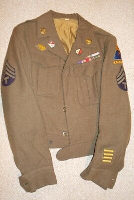 WW2 uniform jacket 3rd Armored Division, ribbons, Rare theater made 2833rd DI DU