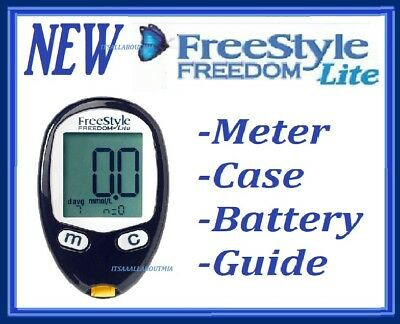 New FREESTYLE FREEDOM LITE Glucose Meter Monitor, Case, Battery & Guide, ABBOTT