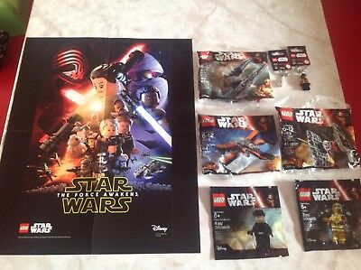 Lego Star Wars  Force Awakens LOT Poster Polybags Keychains   NEW