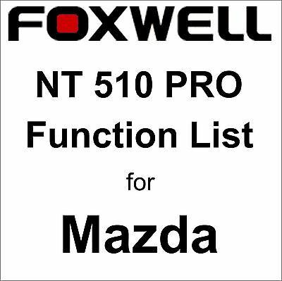 Function List for Mazda Foxwell NT510 PRO OBD OBD2 scanner pdf-file