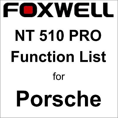 Function List for Porsche Foxwell NT510 PRO OBD OBD2 scanner pdf-file