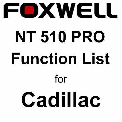 Function List for Cadillac Foxwell NT510 PRO OBD OBD2 scanner pdf-file