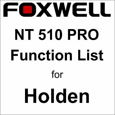 Function List for Holden Foxwell NT510 PRO OBD OBD2 scanner pdf-file
