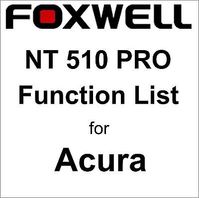 Function List for Acura Foxwell NT510 PRO OBD OBD2 scanner pdf-file