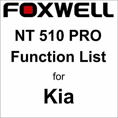 Function List for Kia Foxwell NT510 PRO OBD OBD2 scanner pdf-file