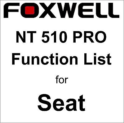 Function List for Seat Foxwell NT510 PRO OBD OBD2 scanner pdf-file