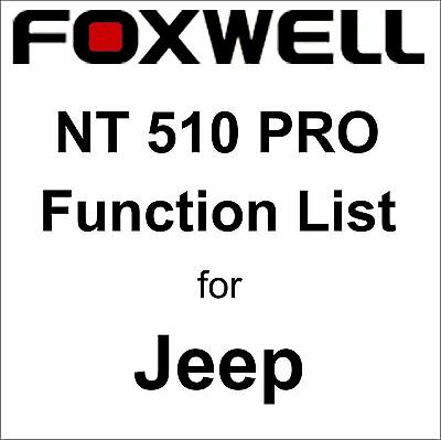 Function List for Jeep Foxwell NT510 PRO OBD OBD2 scanner pdf-file