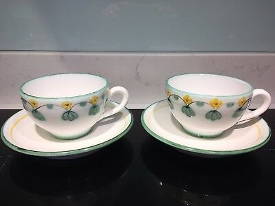 Pair Of Vintage Gollhammer Keramick Teacups And Saucers
